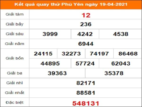 Quay thử xổ số Phú Yên ngày 19/4/2021
