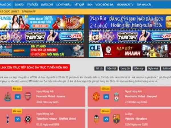 Link xem trực tiếp bóng đá trên Mitom TV