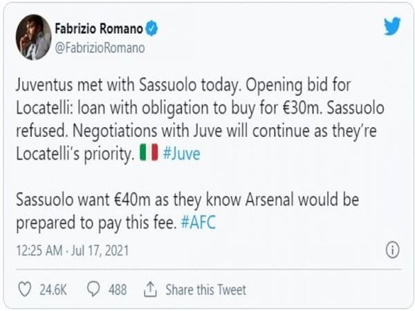 Tin bóng đá 17/7: Juventus phá đám Arsenal vụ Manuel Locatelli